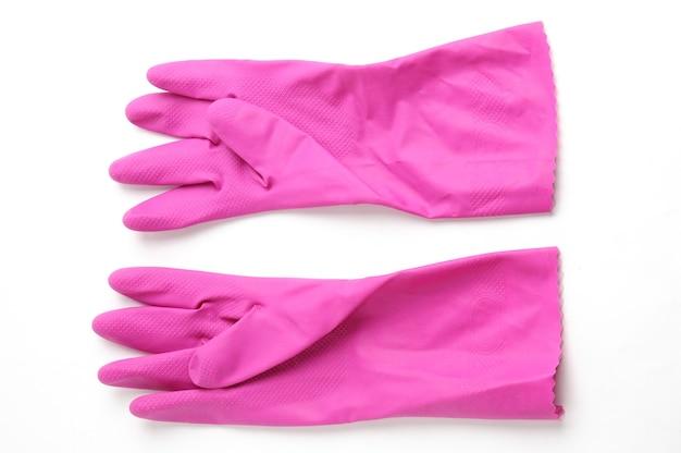 Gumowe rękawice do ochrony dłoni podczas sprzątania izolowane