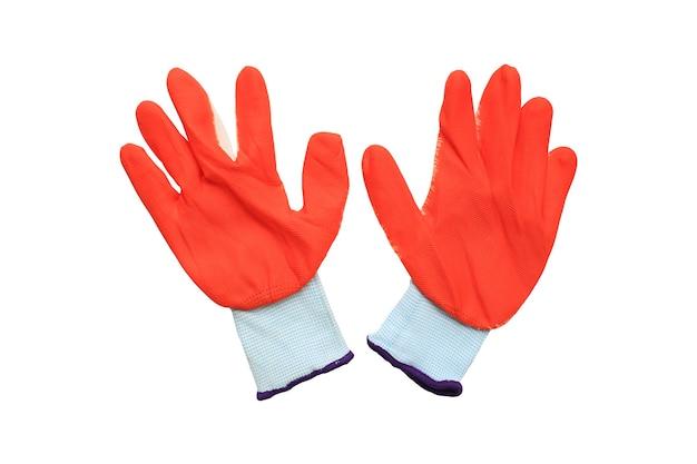 Gumowe rękawiczki na białym tle
