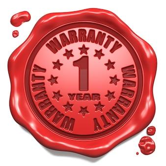 Gwarancja 1 rok - pieczęć na czerwoną woskową pieczęcią na białym tle. pomysł na biznes. renderowanie 3d.