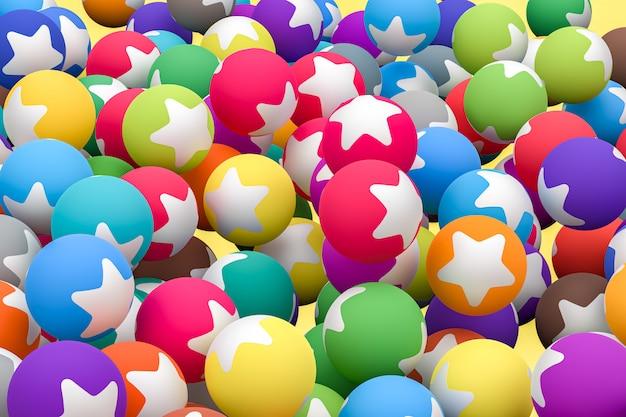 Gwiazda emoji 3d renderowania tła, symbol mediów społecznych balon