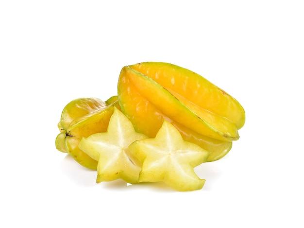 Gwiazda karambola owocowa na białej ścianie