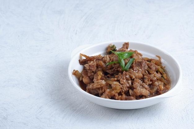 Gyudonzestaw japońskiego jedzenia gyudon z wołowiną i ryżem