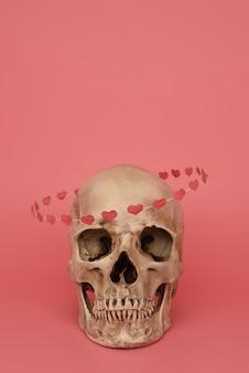 H ludzka czaszka z obręczem serc