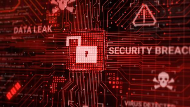 Haker atakuje mikrochip sprzętu komputerowego podczas przetwarzania danych przez sieć internetową, renderowanie 3d niezabezpieczone cyber security wykorzystuje koncepcję naruszenia bazy danych, ekran ostrzegawczy o odblokowaniu złośliwego oprogramowania wirusowego