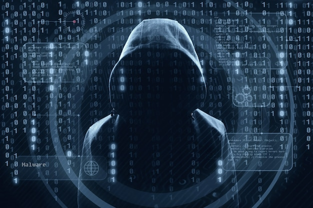 Haker przy pracy z graficznym interfejsem użytkownika