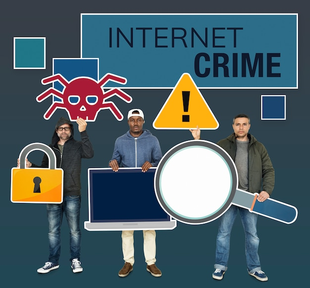 Hakerzy z ikonami przestępczości w internecie