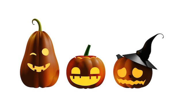 Halloween dynia ilustracja projekt 3d na białym tle