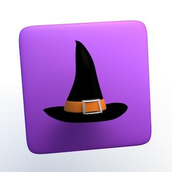 Halloween ikona z kapeluszem czarownicy na na białym tle. ilustracja 3d. aplikacja.