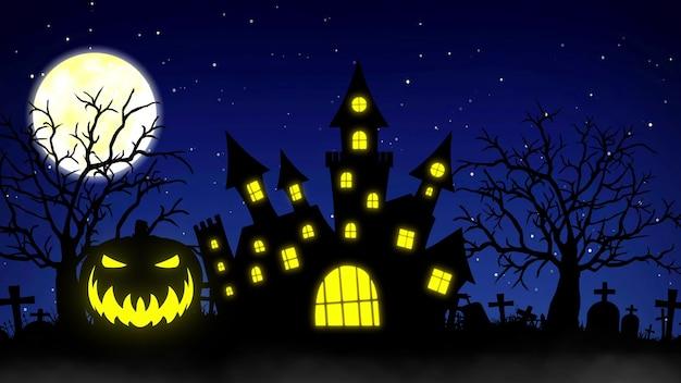 Halloween tło z koncepcją nawiedzonego zamku, dyni i upiornych drzew. renderowanie 3d