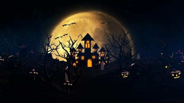 Halloween tło z nawiedzonym domem, duchem, nietoperzami i dyniami
