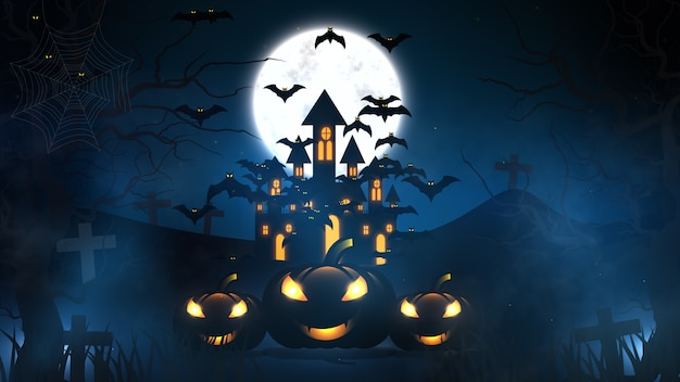 Halloween tło z nawiedzonym domem