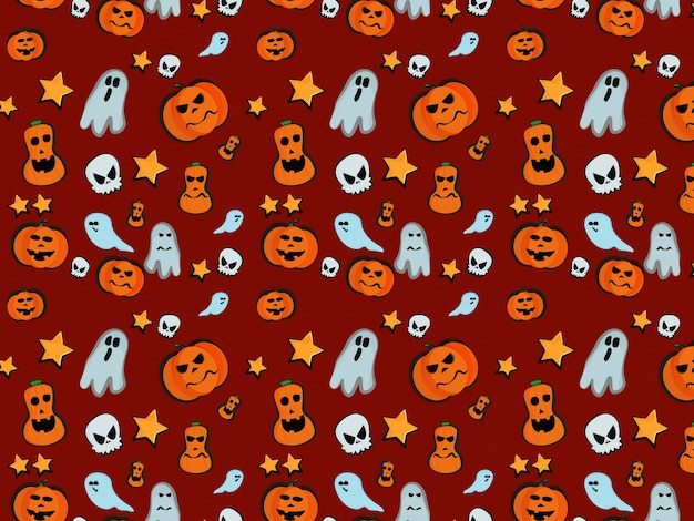 Halloween wzór dyni duch czaszki gwiazda