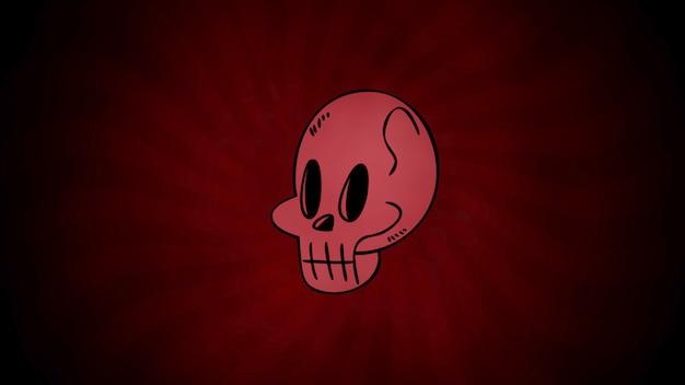 Halloween z czaszką na czerwonym tle. szczęśliwy wakacje streszczenie tło. szczęśliwy wakacje streszczenie tło. luksusowa i elegancka ilustracja 3d w stylu świątecznym