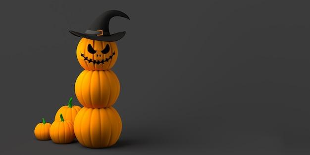 Halloweenowa dynia jack-o-lantern z kapeluszem czarownicy. skopiuj miejsce. ilustracja 3d.