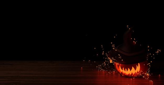 Halloweenowa dynia lub jack o 'latern z kapeluszem wiedźmy otoczonym świecącymi świetlikami przy drewnianym stole w czarnym tle