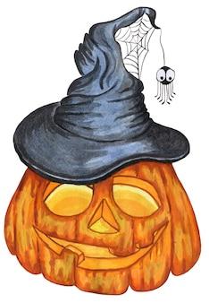 Halloweenowa dynia z wyciętymi oczami dynia w kapeluszu wiedźmy z pajęczynami i pająkiem wesołego halloween
