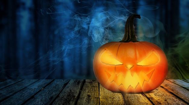 Halloweenowa dyniowa głowa na drewnianym stole