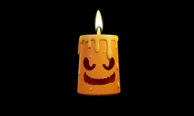 Halloweenowa ilustracja świeca 3d projekt na czarnym tle