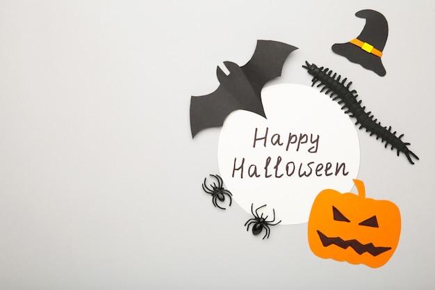 Halloweenowa kompozycja z dynią i pająkami na szarym tle.