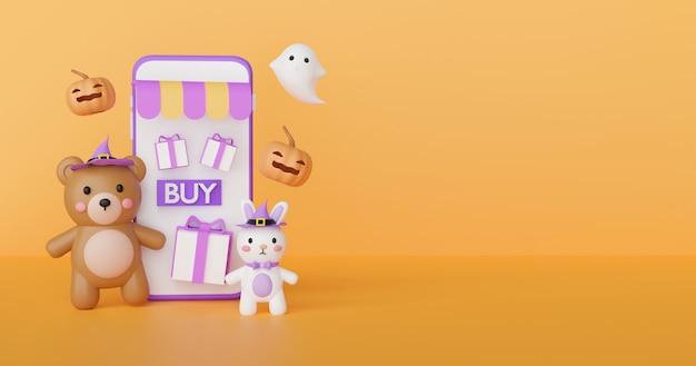 Halloweenowa koncepcja zakupów online ze słodkim misiem i duchami