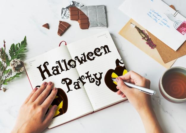 Halloweenowa latarnia z dyni straszna koncepcja graficzna