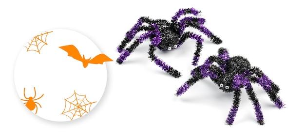 Halloweenowa straszna koncepcja z dekoracyjnymi pająkami na białym tle, makieta
