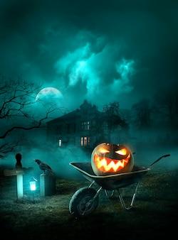Halloweenowa Tapeta Ze Złą Dynią Darmowe Zdjęcia