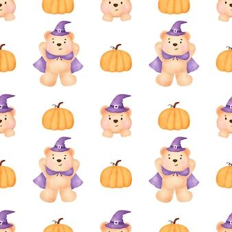 Halloweenowe bezszwowe wzory z uroczą czarownicą i elementami halloween