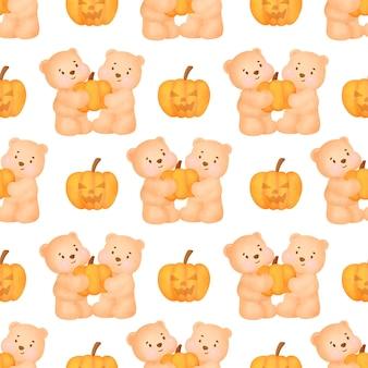 Halloweenowe bezszwowe wzory z uroczym misiem.