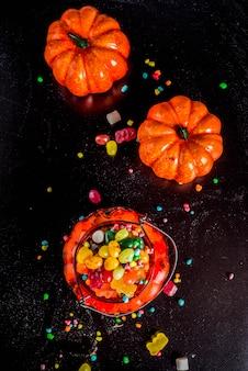 Halloweenowe słodycze tło