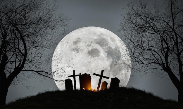 Halloweenowe tło cmentarza z pełnią księżyca
