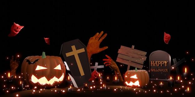 Halloweenowe tło diabeł dyniowy i duch ilustracja 3d