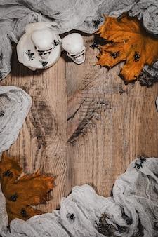 Halloweenowe tło otwarta księga bewithcmentoverheadperspektywa wolne miejsce na tekst