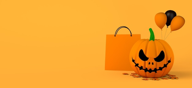 Halloweenowe zakupy z torbą i dynią jack-o-lantern. ilustracja 3d. skopiuj miejsce.