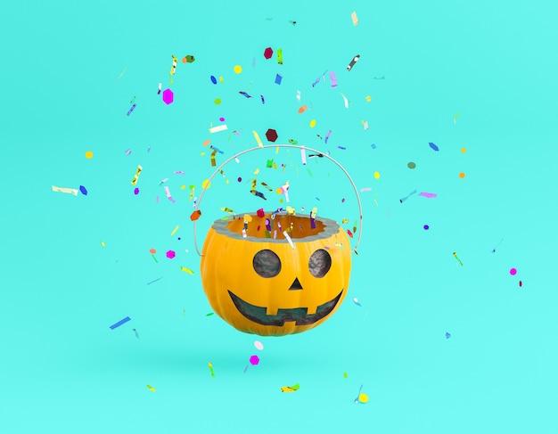 Halloweenowy kosz z konfetti wychodzącym z niego