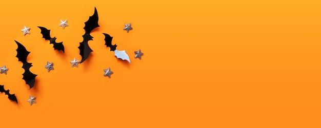 Halloweenowy sztandar z czernią ale na pomarańczowej powierzchni, odgórny widok