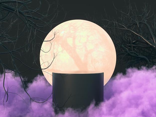 Halloweenowy tło z renderowaniem 3d stoiska produktu