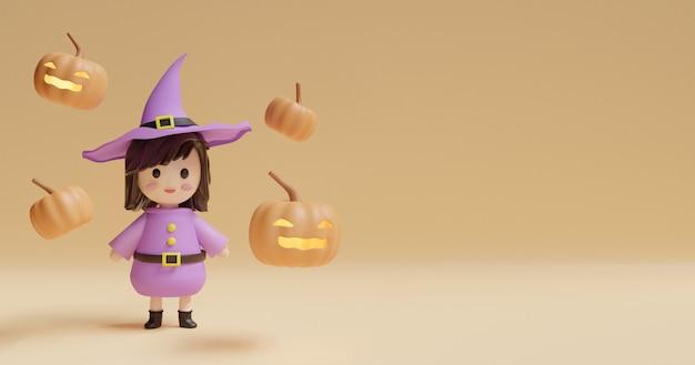 Halloweenowy tło z śliczną czarownicą i baniami.