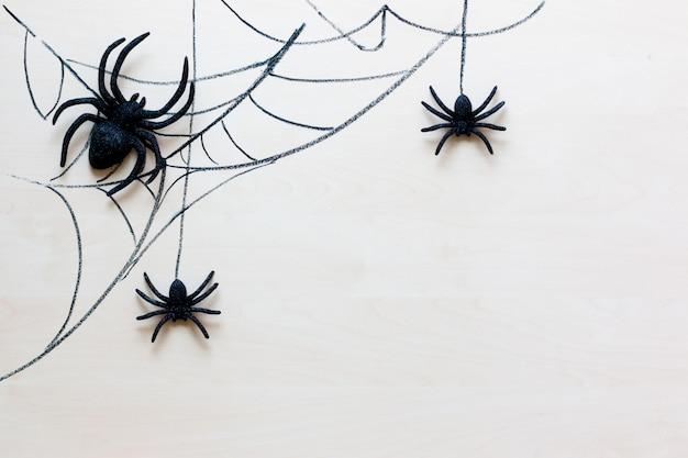 Halloweenowy wakacyjny tło z pająkami i siecią