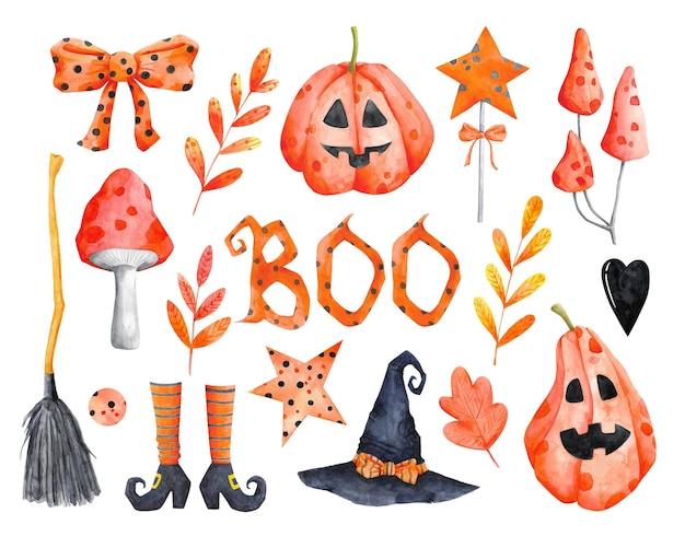 Halloweenowy zestaw clipartów na białym tle akwarela dyni muchomor miotła liści ilustracje