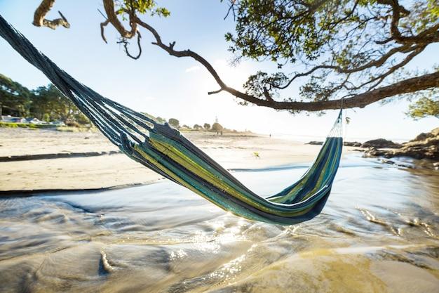 Hamak na plaży na wybrzeżu pacyfiku,