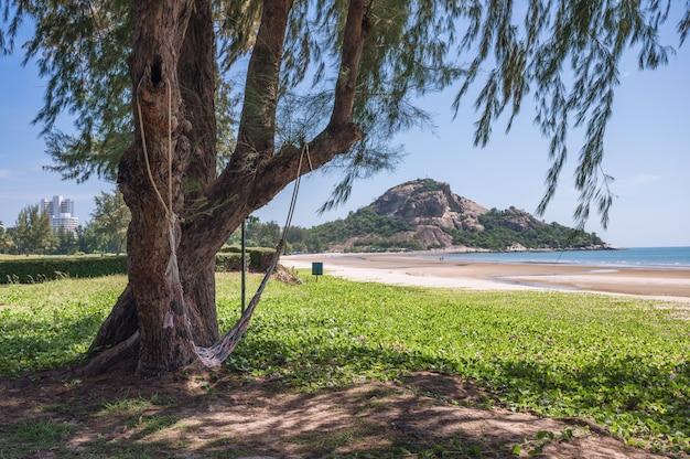 Hamak wiszący na drzewie z górą khao takiab i plażą w hua hin, prachuap khiri khan