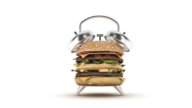 Hamburger budzik renderowania 3d