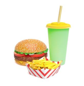 Hamburger, frytki i napoje gazowane na białym tle