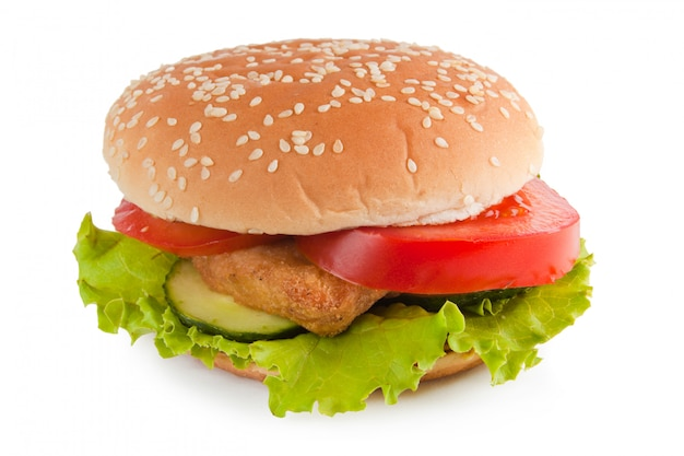 Hamburger na białym tle