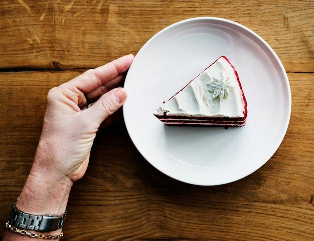 Hand hold show cake sweet