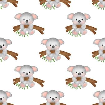 Handdrawn akwarela bezszwowe wzory koali
