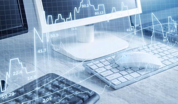 Handel akcjami. komputery biurowe. giełda finansowa