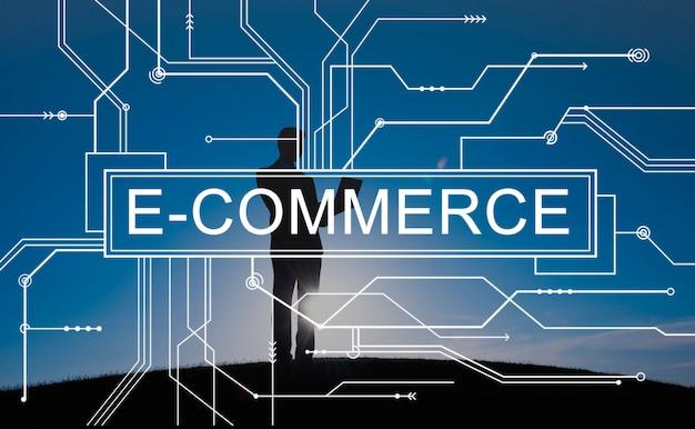 Handel elektroniczny online zakupy sprzedaży pojęcie