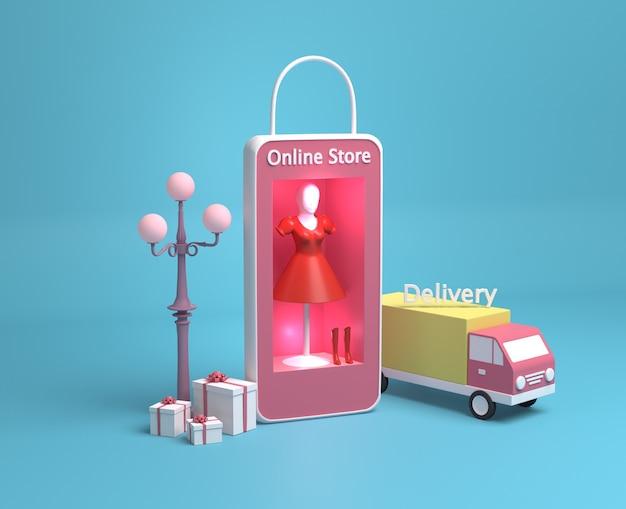 Handel online z ciężarówką dostawczą i torbą na zakupy